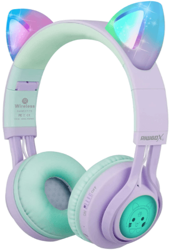 This is an image of the Kids Riwbox CT-7S Cat Ear Bluetooth Headphones - Purple&Green