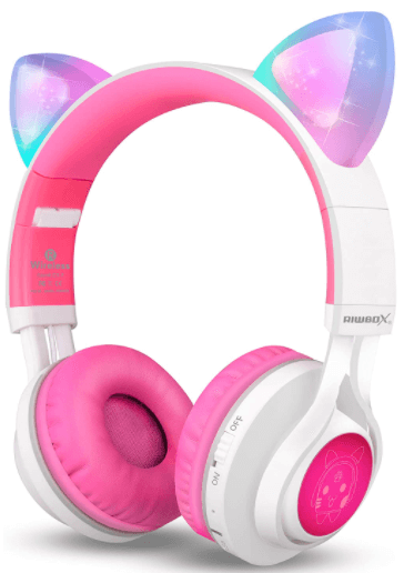 This is an image of a pink Riwbox CT-7 Cat Ear LED Light Up Wireless Foldable Headphone for kids