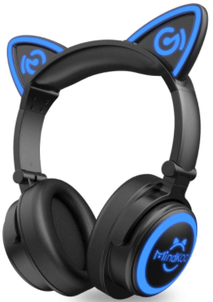This is an image of a Kids MindKoo, Cat Ear Wireless Bluetooth Headphones with LED Light Up- Black