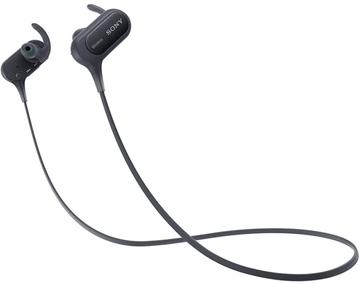 close - up view of the Sony Extra Bass Bluetooth Wireless Sports 2 Earbuds with Microphone,black