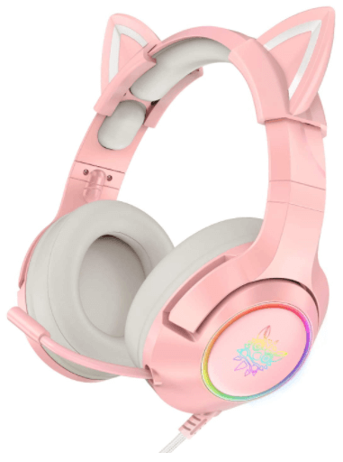 close-up view of a Kids pink ONIKUMA Gaming Headset with Removable Cat Ears