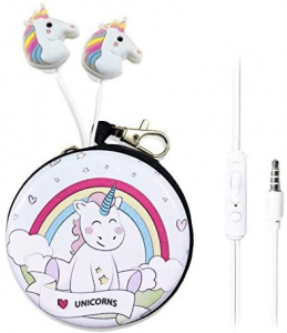 This is an image of the QearFun In-Ear Unicorn 2 Earbuds with mic and case in pink color