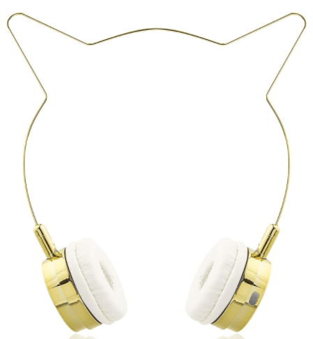 image of a Kids golden Cat Ears Wireless Headphones by Lux Accessories