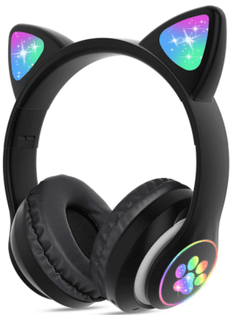 This is an image of a Kids Bluetooth Wireless Foldable Cat Ear Headphones with LED Light Up by TCJ- black