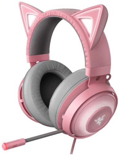 close up image of Kids gaming headset by Razer- Pink