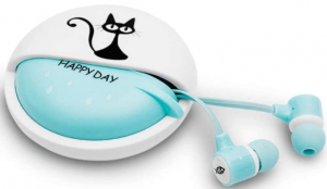 close up view of the QearFun in Ear Cat Earphones- blue