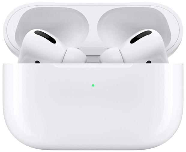 image of white Apple Airpods Pro, 2 earbuds with charging case