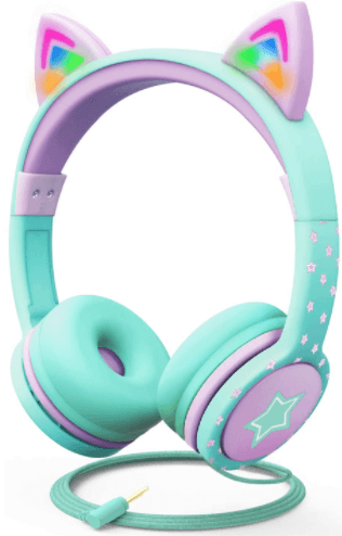 close-up view of a pink and blue FosPower Cat Ears Headphones with LED Light for Kids