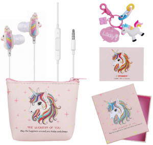 image of the DTMNEP Unicorn Earphones for Girls with case and cards- pink