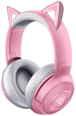 This is an image of a pink Razer Kraken Bluetooth headphone for kids