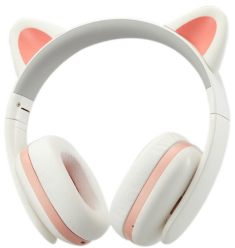 This is an image of a pink and white Censi Music Cat Ear Headphone for kids