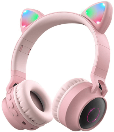 image of a pink Wireless Bluetooth Headphones by Aresrora for kids