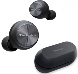 This is an image of the Technics True Wireless 2 Earbuds with charging case, black color