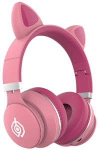 close up of a pink Cat Ear Headphones for kids by AKZ CN COM