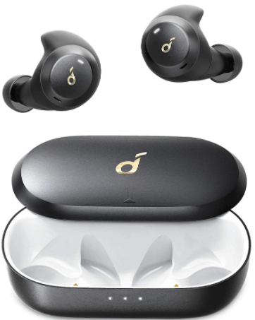 close-up view of the Anker Soundcore Spirit Dot 2, Wireless 2 Earbuds, with charging case - black