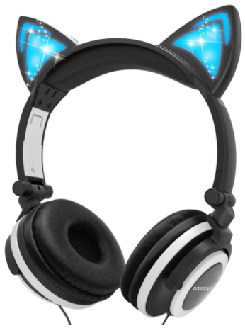 This is an image of a black Cat Ear Headphones for kids by Barsone