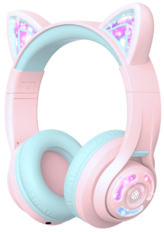 image of the iClever BTH13 Cat Ear LED Light Up Wireless Bluetooth Headphones for Kids- Pink color