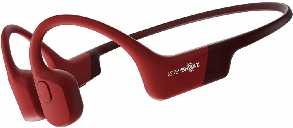 close up image of the AfterShokz Aeropex Open-Ear Wireless Bone Conduction 2 Headphones- Red