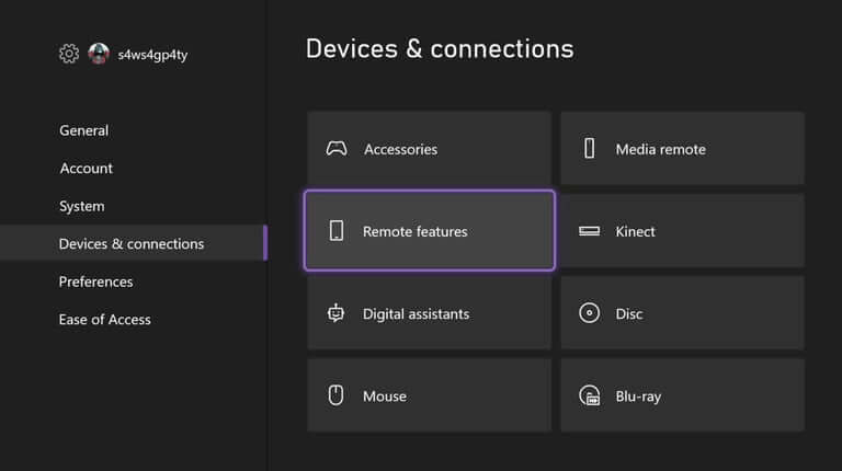 image of the Devices & Connections enable remote features xbox one