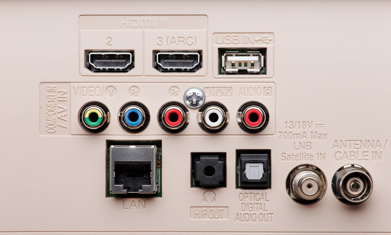 Input and output connectors of the modern TV panel. Hdmi, Lan, Component, AV, USB and etc