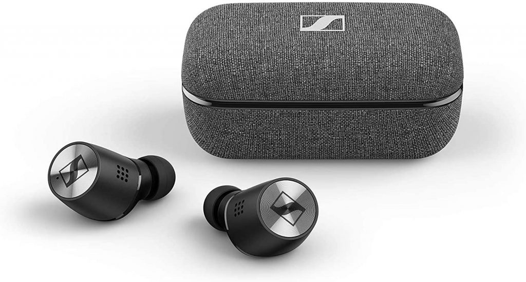 close up image of the Sennheiser Momentum True Wireless 2 earbuds and case