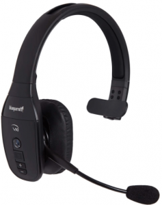 This is an image of the BlueParrott B450-XT noise cancelling bluetooth headset in black color