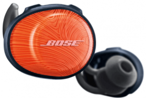 closed-up view of the Bose SoundSport Free, True Wireless earbuds-black