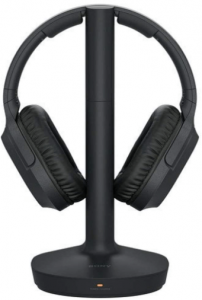 This is an image of a black Sony Premium wireless Home Theater Headphones with charging dock