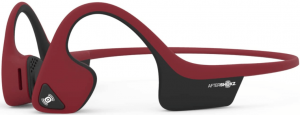 close-up view of the AfterShokz Air wireless bone conduction headphones- red
