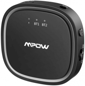 close-up image of the Mpow Bluetooth Audio TV Transmitter-black