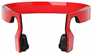 close up image of the AfterShokz Bluez 2S wireless bone conduction headphones in red color