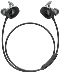 close-up view of the Bose Soundsport Bluetooth Wireless Earbuds in black color