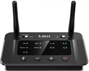 This is an image of the 1Mii B03 Bluetooth Transmitter Receiver for TV in black color