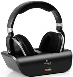 close-up view of the Artiste ADH300 Wireless TV Headphones with charger- black