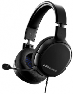 close up view of the SteelSeries Arctis 1, wired gaming headset with flip up mic-black