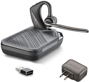 close up view of the Plantronics Voyager 5200 bluetooth headset with charging case- grey