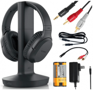 image of the Sony WHRF400R wireless black headphones for TV whith charging dock, battery and adaptor