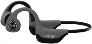 close up image of grey Tayogo Bone Conduction headphones with Bluetooth
