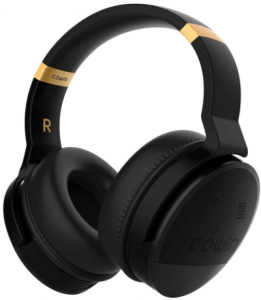 close up image of the COWIN E8 Bluetooth Headphones in black color