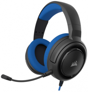 This is an image of the Corsair HS35 gaming headset with flip up mic and memory foam earcups-black and blue