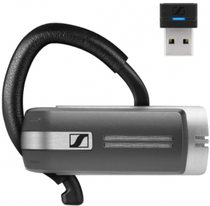This is an image of the Sennheiser Presence Grey UC Bluetooth headset with usb dongle