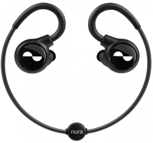 This is an image of the black NuraLoop Wireless Bluetooth Earbuds
