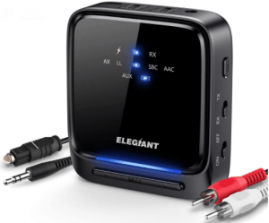 This is an image of a black Bluetooth Audio Transmitter for TV by ELEGIANT