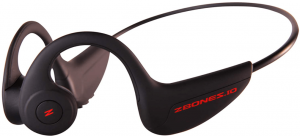 close-up view of the ZBones Stealth wireless Bone Conduction headphones- black