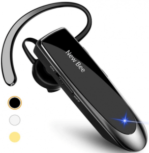 image of the New bee Bluetooth Earpiece V5.0 wireless handsfree headset in black color