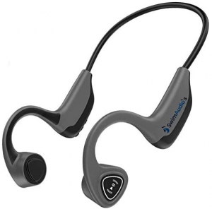 close up image of a grey wireless Bone Conduction headphones with Bluetooth by Swimaudios