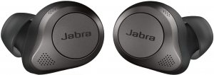 colose up image of the Jabra Elite 85t True Wireless eluetooth Earbuds in black color