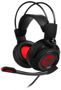 close-up image of the MSI DS 502 gaming headset with microphone-black