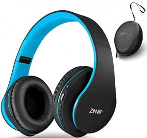 close up image of a black wireless Over-Ear headset with case by Zihnic