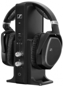 close up image of the Sennheiser RS 195 RF wireless headphone system with charging dock in black color